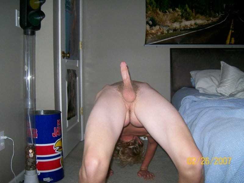 Gymnast Boy Go Upside Down With His Erected Cock