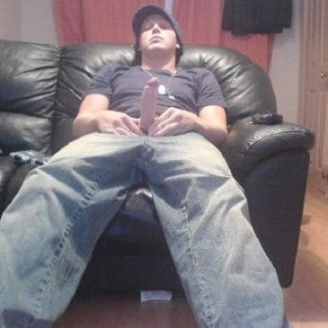 Horny Boy On Leather Couch Dick Out From His Jeans
