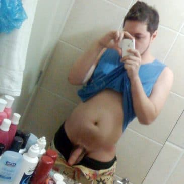 Horny Dude Take Pic Of His Cock From Mirror