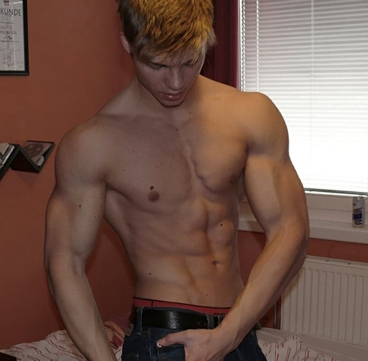 Sexy Muscle Boy Showing Off His Body